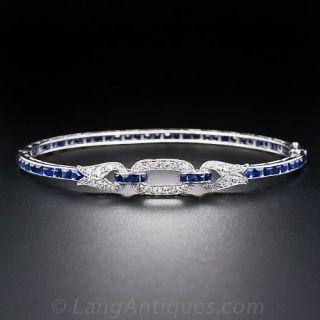 French Art Deco Sapphire and Diamond Bangle Bracelet
