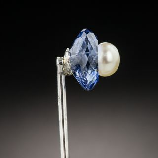 French Art Deco Sapphire and Natural Pearl Stickpin