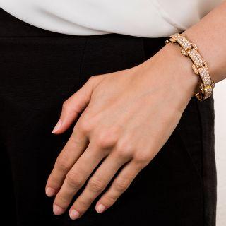 French Art Deco Style Diamond and Black Enamel Bracelet