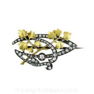 French Art Nouveau Diamond Brooch - 1