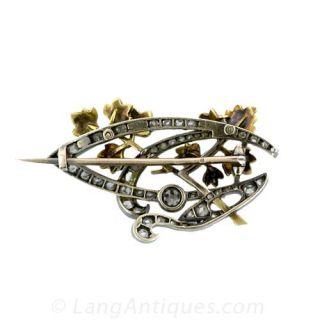 French Art Nouveau Diamond Brooch