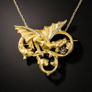 French Art Nouveau Diamond Griffin Necklace/Brooch - 2