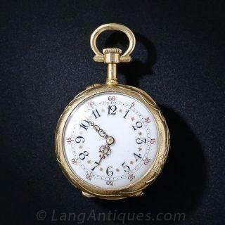 French Art Nouveau Enamel and Gem Set Miniature Pendant Watch