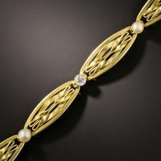 French Art Nouveau Pearl and Diamond Bracelet - 2