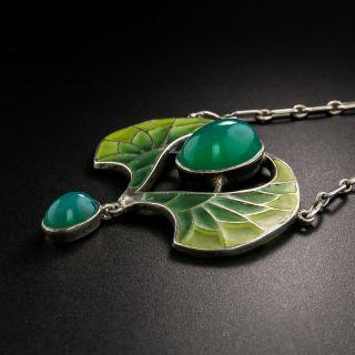 French Art Nouveau Silver Chrysoprase Plique-a-Jour Pendant