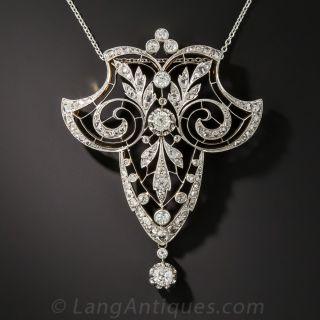 French Belle Époque Diamond Lavaliere Necklace - 3