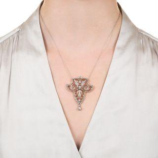 French Belle Époque Diamond Lavaliere Necklace