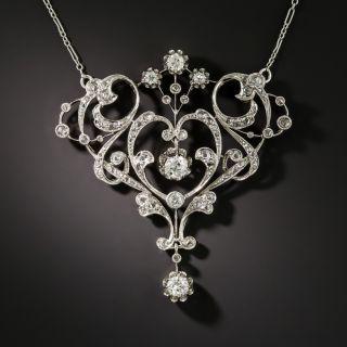 French Belle Epoque Diamond Pendant Necklace - 3