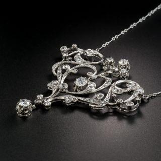 French Belle Epoque Diamond Pendant Necklace