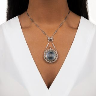 French Belle Epoque Guilloche Enamel Pendant Watch Necklace