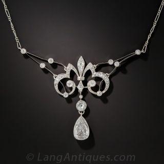 French Belle Époque Necklace 1.25 Carat Pear Shape Diamond