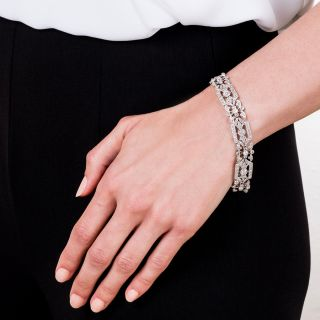 French Belle Epoque Platinum Diamond Bracelet