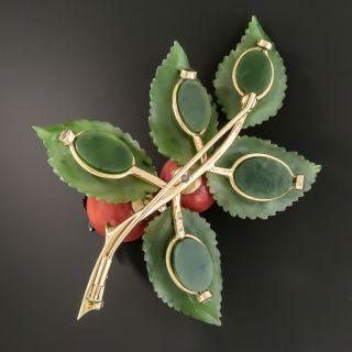 Vintage Austrian Coral Nephrite Jade and Diamond Carved Floral Brooch