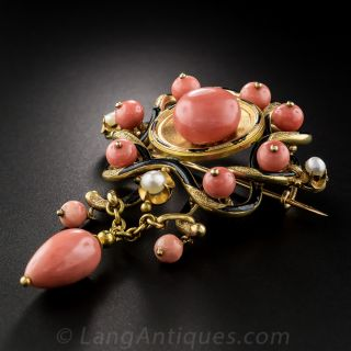 French Coral, Pearl and Black Enamel Antique Brooch