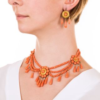 French Coral Three-Piece Necklace, Earring and Brooch Suite