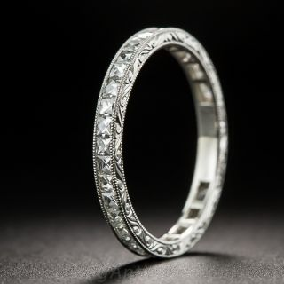 French-Cut Diamond Eternity Band with Scroll Motif Engraving - 1