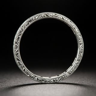 French-Cut Diamond Eternity Band with Scroll Motif Engraving