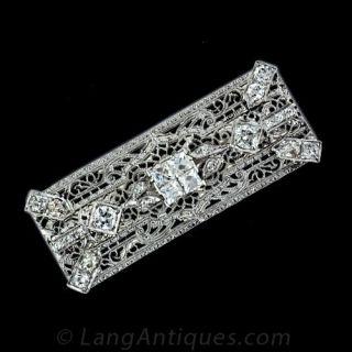 French cut Diamond Filigree Pin - 1