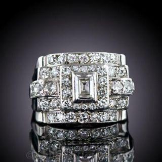 French Retro Diamond Cocktail Ring