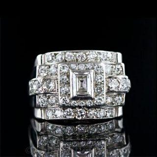 French Deco/Retro Diamond Cocktail Ring