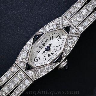 French Diamond and Onyx Art Deco Watch