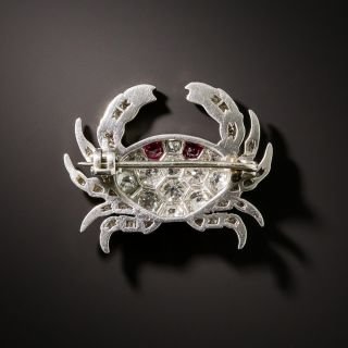 French Diamond and Ruby Platinum Crab Brooch