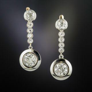French Diamond Dangle Earrings, 4.60 Carats Total - 1