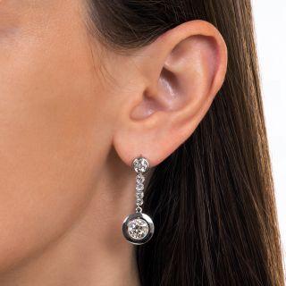 French Diamond Dangle Earrings, 4.60 Carats Total