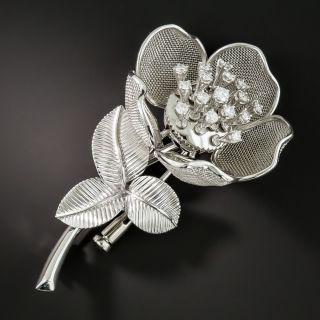 French Diamond Platinum Articulated Flower Brooch - 2