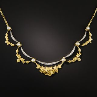 French Early 20th Century Diamond and Pearl Necklace - 2
