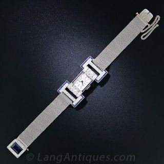French Early Art Deco Sapphire and Diamond Watch