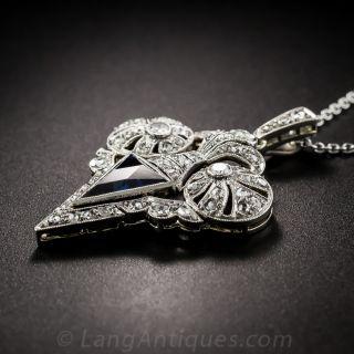 French Edwardian Sapphire and Diamond Pendant