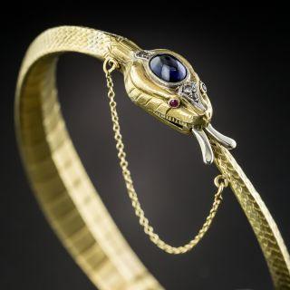 French Egyptian Revival Cobra Bangle Bracelet - 1