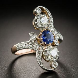French Belle Époque Sapphire and Diamond Dinner Ring