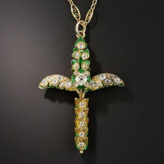 French Enamel and Diamond Palm Sunday Cross - 1