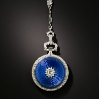 French Enamel and Diamond Watch Necklace/Pin
