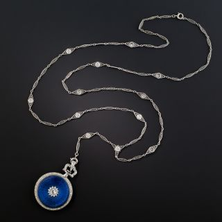 French Enamel and Diamond Watch Necklace/Pin - 2