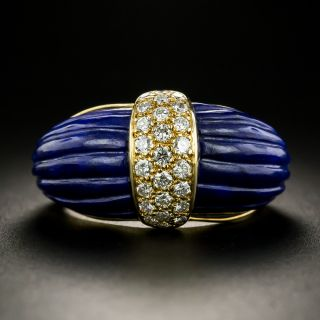 French Fluted Lapis and Diamond Ring - 2