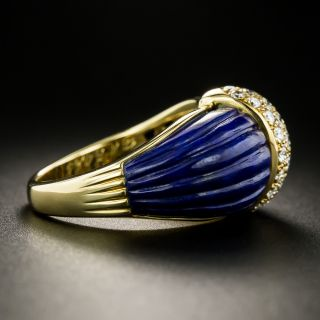 French Fluted Lapis and Diamond Ring - Size 6 1/4