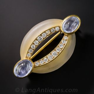 French Frosted  Rock Crystal, Diamond and Sapphire Pin