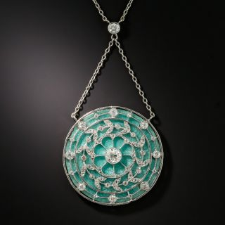 French Guilloche Enamel Edwardian Diamond Pendant Necklace - 2