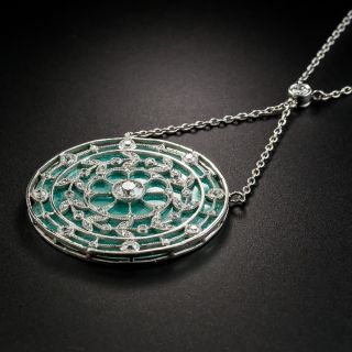 French Guilloche Enamel Edwardian Diamond Pendant Necklace
