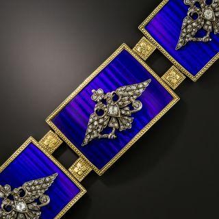 French Imperial Russia Coat of Arms Blue Enamel Diamond Plaque Bracelet - 1