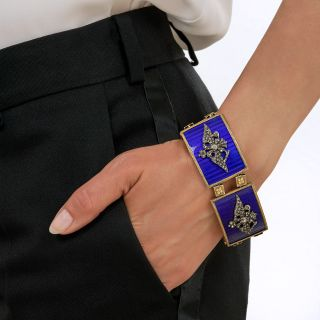 French Imperial Russia Coat of Arms Blue Enamel Diamond Plaque Bracelet