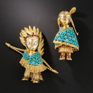 French Indian Turquoise Ruby Diamond Pins