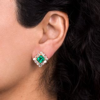 French Late Victorian 3.83 Carat Colombian Emerald and Diamond Earrings - Minor Enhancement