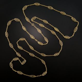 French Long 18K Gold Chain Necklace