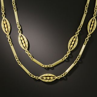 French Long Fancy Link 18K Necklace - 2