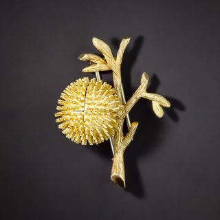 French Mid-Century Blossoming Ruby Chestnut Bud Brooch