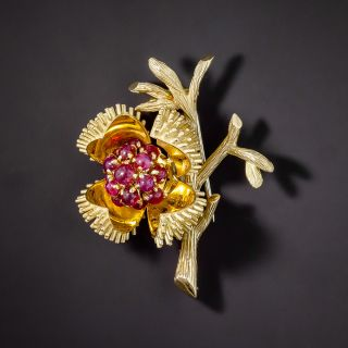Mid-Century Chestnut Bud with Ruby Interior Brooch, French - 3